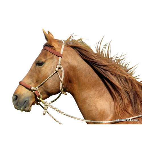 L Organic Pads >> LightRider Bitless Bridle - Rope Natural - LightRider Bitless Bridles